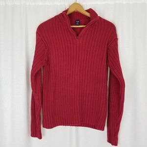 Gap Sweaters - GAP Cotton Ribbed Henley 1/4 Zip Up Knit Sweater L